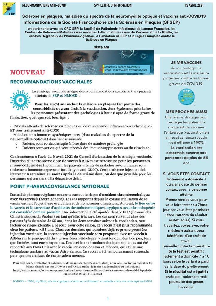 Lettre d'information SEP et Covid 2021
